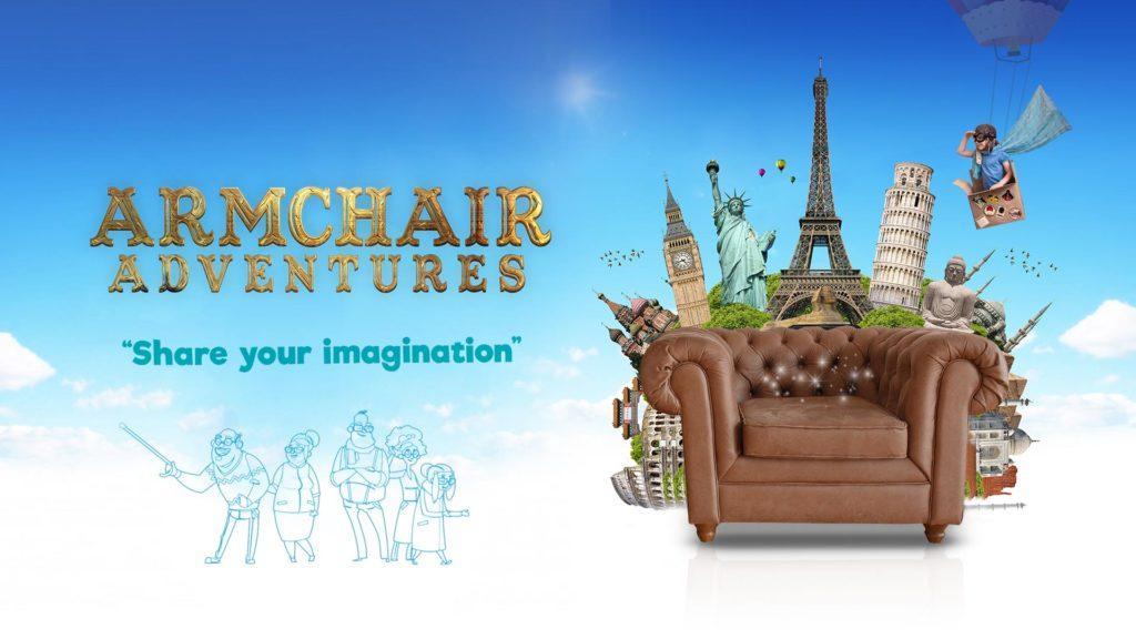 Armchair Adventures logo alongside armchair with famous monuments bursting out