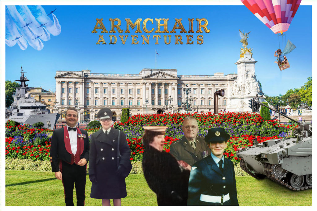 Armchair Adventures logo above Buckingham Palace, surrounded by fighter jets, tanks, submarines, and our very own vets!