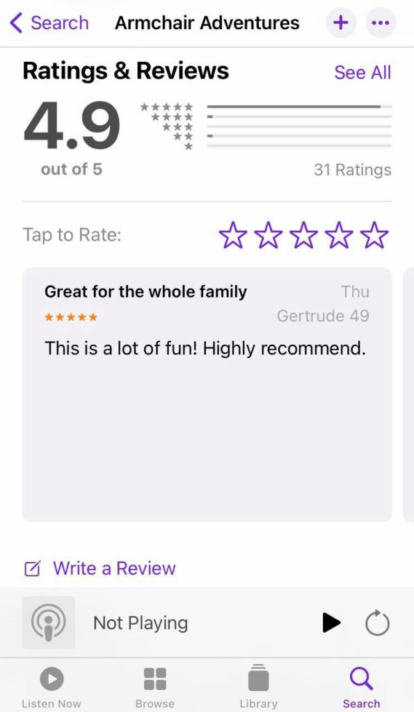 Ratings and review page on Apple Podcasts